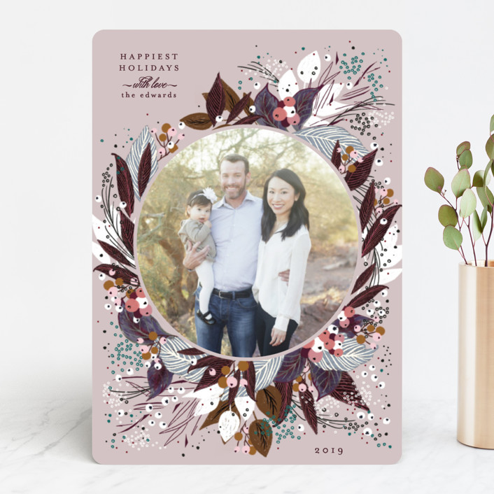 """""""Beautiful Bouquet"""" - Holiday Photo Cards in Plum by Phrosne Ras."""