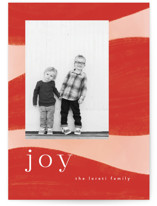 This is a red holiday photo card by Nazia Hyder called Joyful Waves with standard printing on smooth signature in standard.