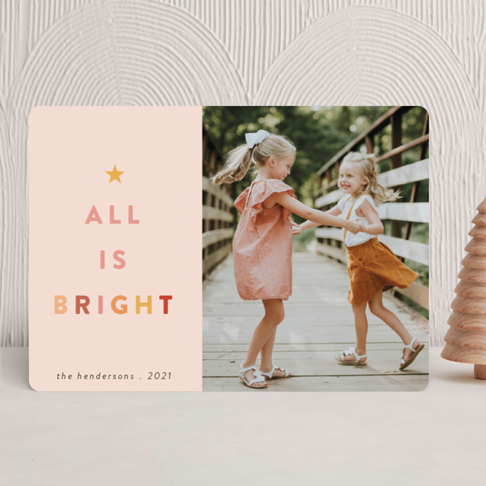 """""""Citrus"""" - Modern Holiday Photo Cards in Blush by Morgan Kendall."""