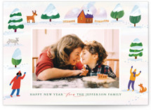 This is a orange holiday photo card by Alexandra Dzh called winter wonderland landscape with standard printing on smooth signature in standard.