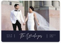 This is a blue holiday photo card by Pixel and Hank called Newly Married with standard printing on smooth signature in standard.
