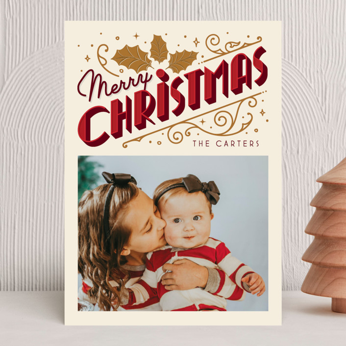 """""""Christmas Past"""" - Vintage Holiday Photo Cards in Cream by GeekInk Design."""