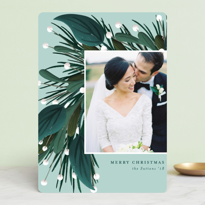"""Garland Greeting"" - Holiday Photo Cards in Onyx by Angela Marzuki."