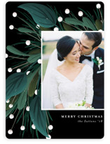 This is a black holiday photo card by Angela Marzuki called Garland Greeting with standard printing on smooth signature in standard.