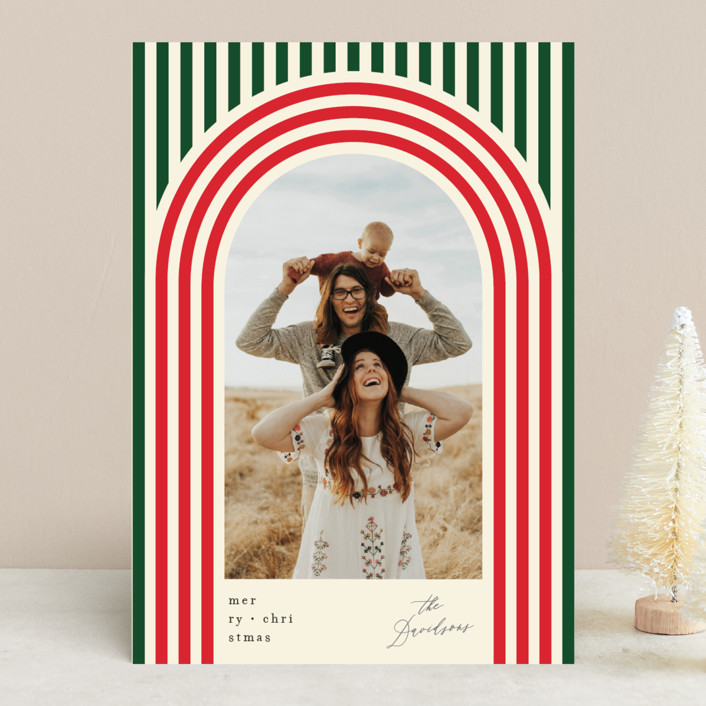 """Retro Stripes"" - Vintage, Modern Holiday Photo Cards in Evergreen by Baumbirdy."