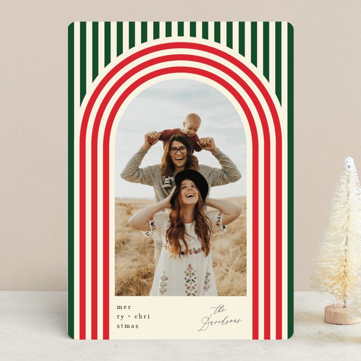 """Retro Stripes"" - Modern Holiday Photo Cards in Ornaments by Baumbirdy."