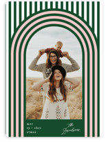 This is a green holiday photo card by Baumbirdy called Retro Stripes with standard printing on smooth signature in standard.