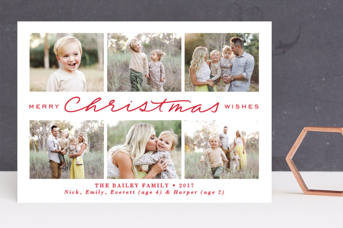"""Christmas Wishes Collage"" - Holiday Photo Cards in Peppermint by Jamie Schultz Designs."