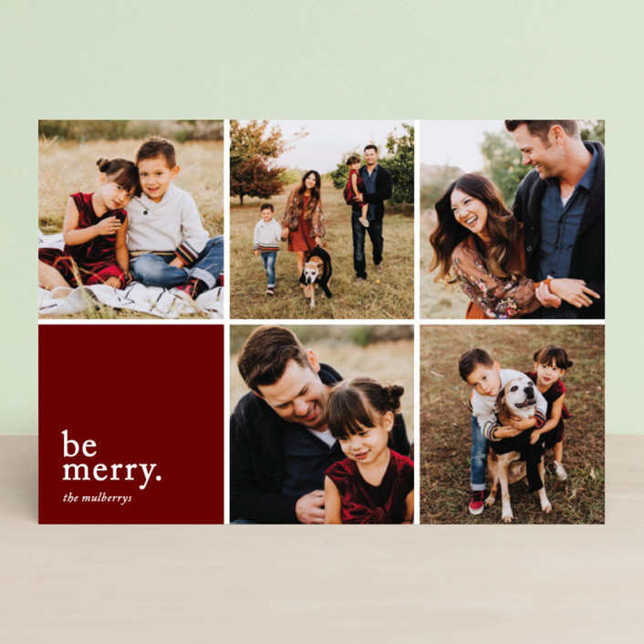 """""""Merriment squared"""" - Holiday Photo Cards in Wine by Jessica Ogden."""
