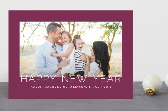 """Minimalistic Chic"" - Holiday Photo Cards in Plum by jomolo."