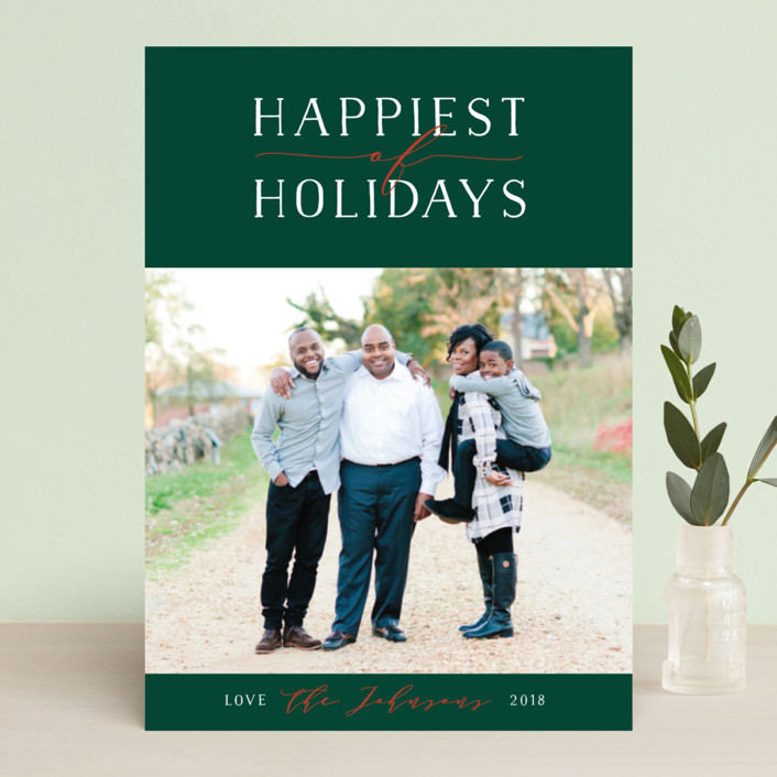 """Bliss"" - Holiday Photo Cards in Forest by Jennifer Lew."