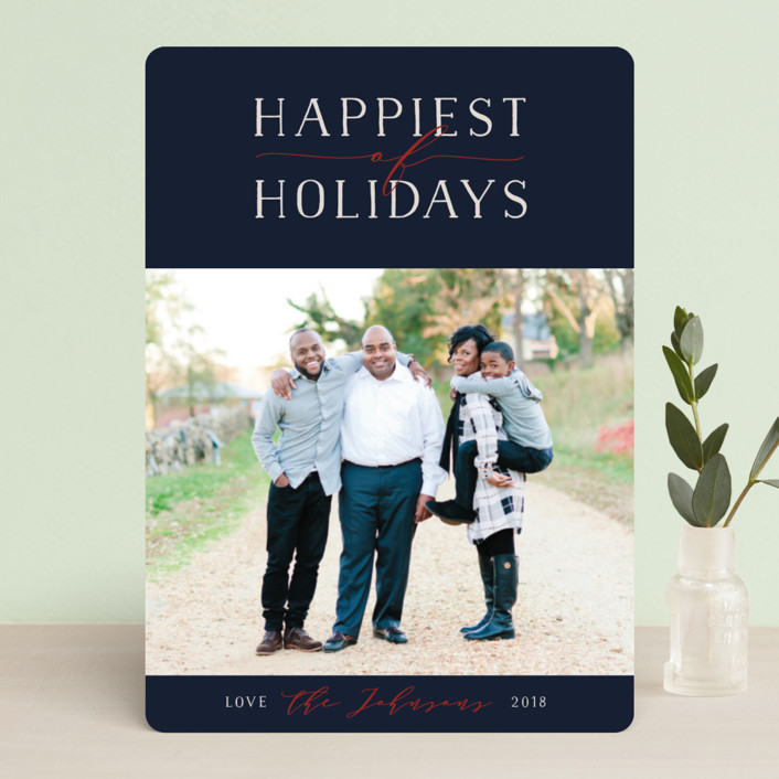 """Bliss"" - Holiday Photo Cards in Navy by Jennifer Lew."