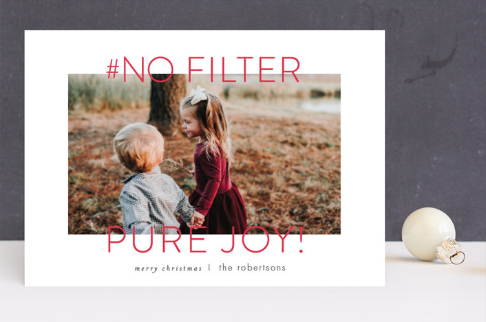 """""""no filter"""" - Funny Holiday Photo Cards in Berry by Carrie ONeal."""