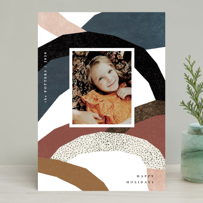 """imaginary hills"" - Modern Holiday Photo Cards in Rainbow Rock by Sumak Studio."