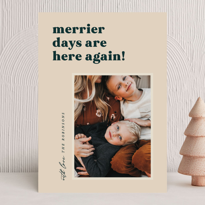 """""""Merrier Days"""" - Holiday Photo Cards in Latte by Hooray Creative."""