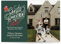 This is a green holiday photo card by Carrie ONeal called Santa Stop with standard printing on doublethick in standard.