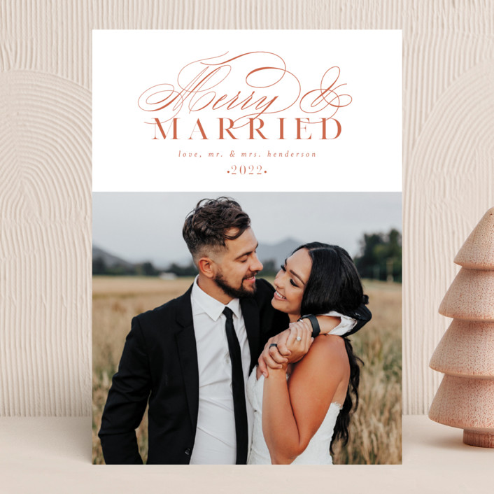 """""""So Merry Married"""" - Holiday Photo Cards in Persimmon by Ashlee Townsend."""