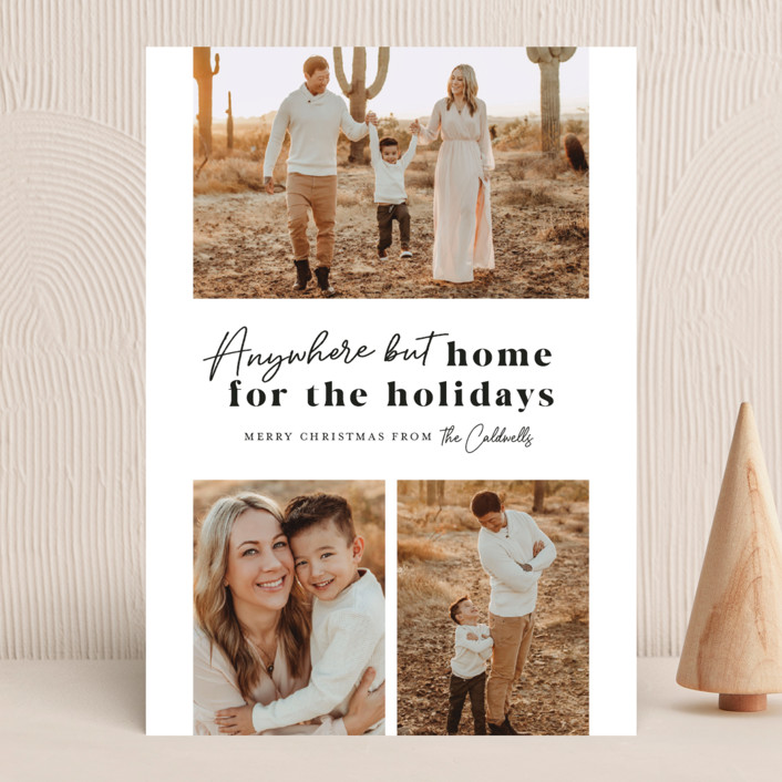 """""""Anywhere But Home"""" - Holiday Photo Cards in Coal by Melissa Egan of Pistols."""
