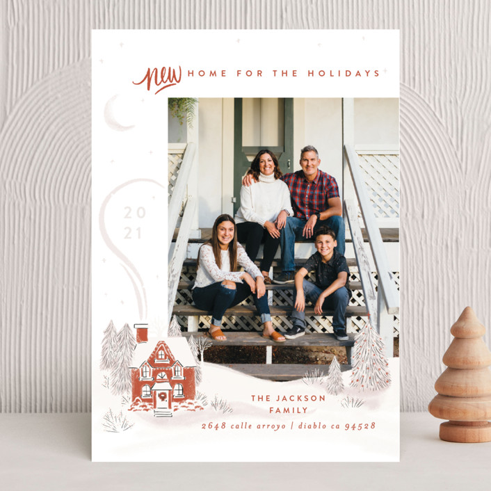 """Vintage Cozy Home"" - Bohemian Holiday Photo Cards in Pumpkin by Shiny Penny Studio."