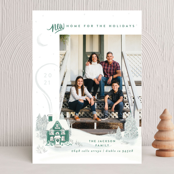 """""""Vintage Cozy Home"""" - Bohemian Holiday Photo Cards in Pine by Shiny Penny Studio."""