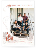 This is a orange holiday photo card by Shiny Penny Studio called Vintage Cozy Home with standard printing on smooth signature in standard.
