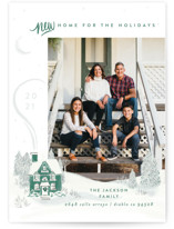 This is a green holiday photo card by Shiny Penny Studio called Vintage Cozy Home with standard printing on smooth signature in standard.