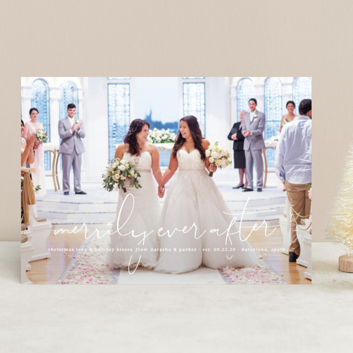 """""""Our Merrily Ever After"""" - Holiday Photo Cards in Snow by fatfatin."""