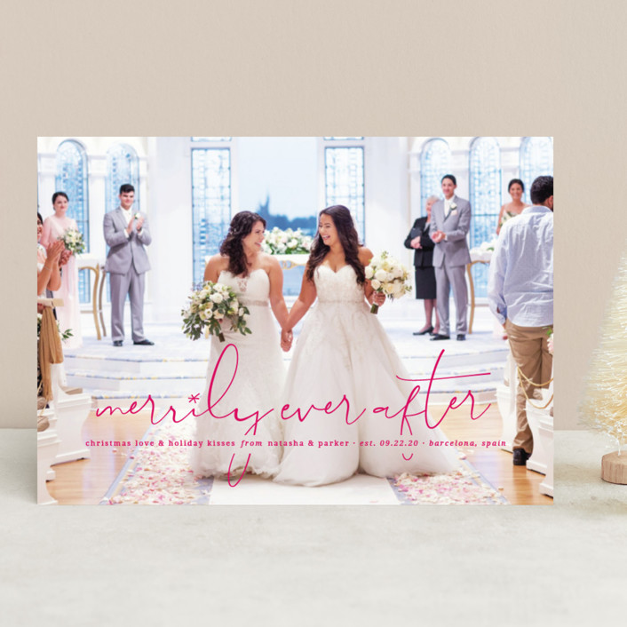 """""""Our Merrily Ever After"""" - Holiday Photo Cards in Peony by fatfatin."""