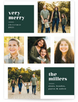 This is a green holiday photo card by Kelly Schmidt called Very Merry Color Blocks with standard printing on smooth signature in standard.