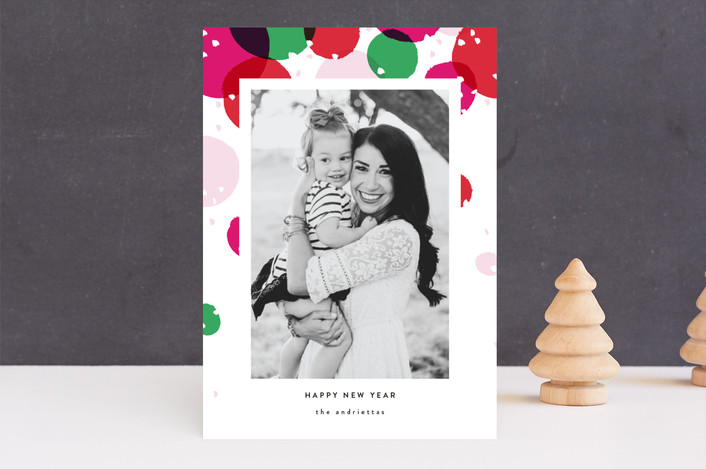 """""""Bright and Dotty"""" - Holiday Photo Cards in Fruitcake by Pistols."""