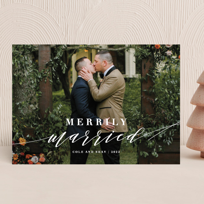 """Merrily Married"" - Holiday Photo Cards in Snow by Roxy Cervantes."