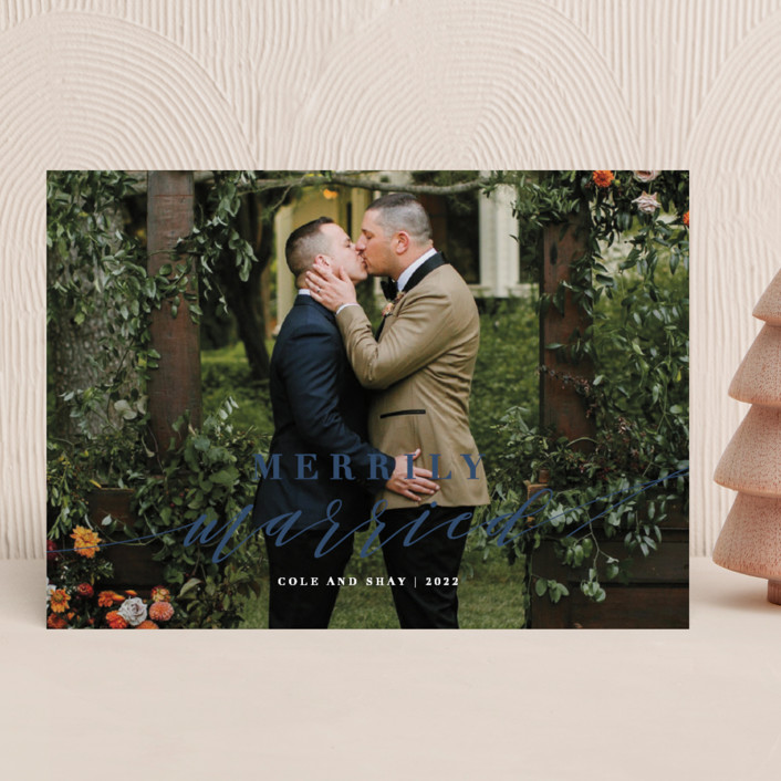 """Merrily Married"" - Holiday Photo Cards in Navy by Roxy Cervantes."