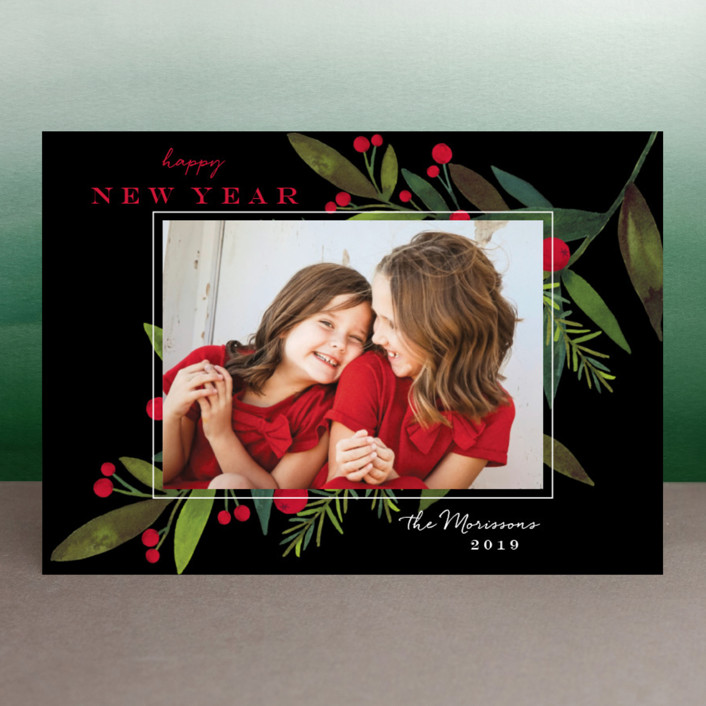 """""""Bold Winter Foliage"""" - Holiday Photo Cards in Licorice by Petra Kern."""