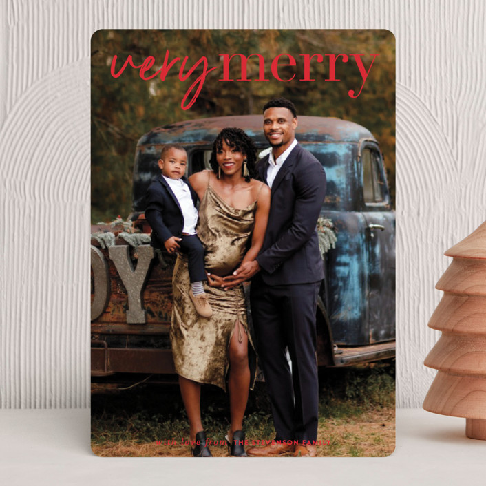 """very merry moment"" - Holiday Photo Cards in Holly by Sara Hicks Malone."