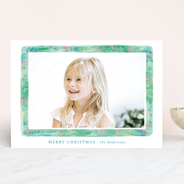 """Stylish greenery frame"" - Holiday Photo Cards in Evergreen by Alexandra Dzh."