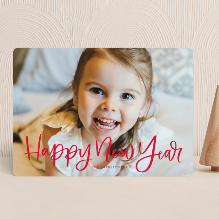 """Modern Merry Greeting"" - Holiday Photo Cards in Apple by Kristen Smith."