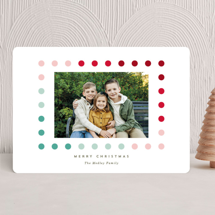 """Simple Dot Frame"" - Modern Holiday Photo Cards in Holly by Baumbirdy."