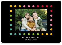 This is a black holiday photo card by Baumbirdy called Simple Dot Frame with standard printing on smooth signature in standard.