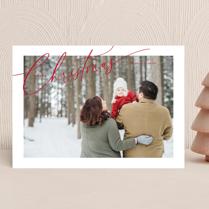 """""""Sloped Script"""" - Holiday Photo Cards in Crimson by Melanie Severin."""
