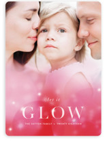 This is a pink holiday photo card by Angela Marzuki called That Holiday Glow with standard printing on smooth signature in standard.
