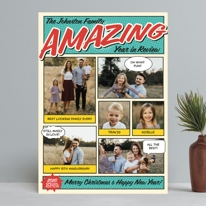 """Amazing Comic Book"" - Vintage Holiday Photo Cards in Robin's Egg Blue by Coco and Ellie Design."