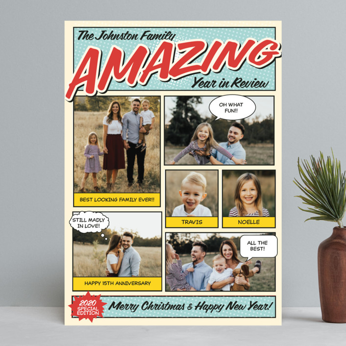 """""""Amazing Comic Book"""" - Funny Holiday Photo Cards in Robin's Egg Blue by Coco and Ellie Design."""