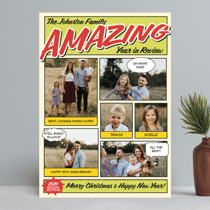 """Amazing Comic Book"" - Vintage Holiday Photo Cards in Green Apple by Coco and Ellie Design."