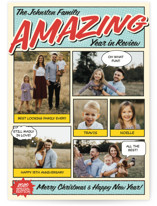 This is a blue holiday photo card by Coco and Ellie Design called Amazing Comic Book with standard printing on smooth signature in standard.