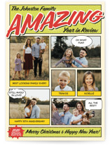 This is a green holiday photo card by Coco and Ellie Design called Amazing Comic Book with standard printing on smooth signature in standard.