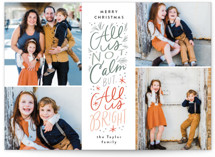 This is a green holiday photo card by Alethea and Ruth called Not Calm, but Bright with standard printing on smooth signature in standard.