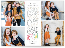 This is a grey holiday photo card by Alethea and Ruth called Not Calm, but Bright with standard printing on smooth signature in standard.