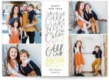 This is a yellow holiday photo card by Alethea and Ruth called Not Calm, but Bright with standard printing on smooth signature in standard.