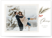 This is a green holiday photo card by Wildfield Paper Co called Berry Sprig with standard printing on smooth signature in standard.