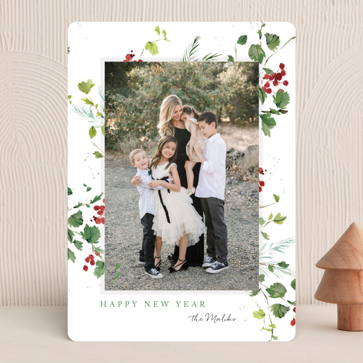 """""""Festive Ivy"""" - Holiday Photo Cards in Snow by Kelly Ventura."""